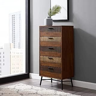 Modway Arwen Rustic Modern Wood 5-Drawer Bedroom Chest In Walnut