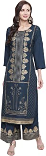 BNDYA Women's Blue Rayon FOIL Printed Straight FIT Kurta and Flared Palazzo Set