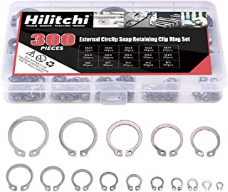 Hilitchi 300-Pcs [15-Size] External Circlip Snap Retaining Clip Ring Assortment Set - 304 Stainless Steel