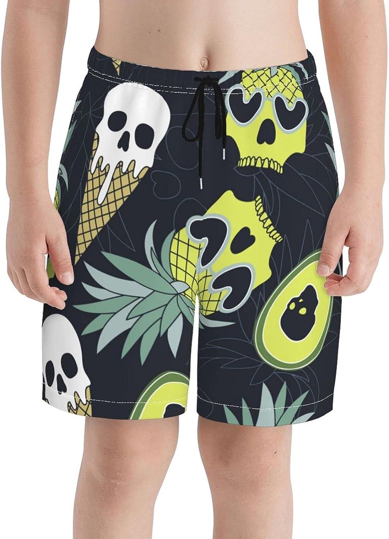 FuYin Boys Teens Swim Trunks Pineapple Skull Quick Dry Beach Board Swim Shorts 7-18T