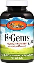 Carlson - E-Gems Elite, 1000 IU Vitamin E with Tocopherols & Tocotrienols, Heart Health & Optimal Wellness, Antioxidant, 1...