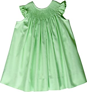 Girls Ready to Smock Cap Sleeve Bishop Dress in Apple Green Cotton