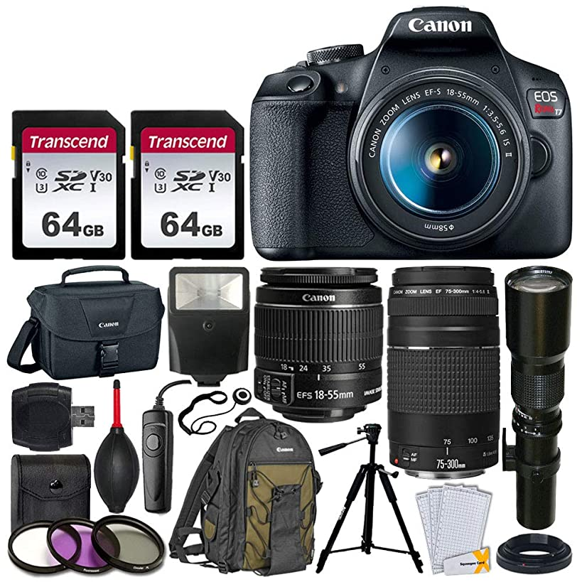 Canon EOS Rebel T7 DSLR Camera + EF-S 18-55mm f/3.5-5.6 IS II + EF 75-300mm f/4-5.6 III Lens + Telephoto 500mm f/8.0 T-Mount Lens (Long) + 2x 64GB Memory Card + Canon EOS Bag + Canon Backpack + Tripod
