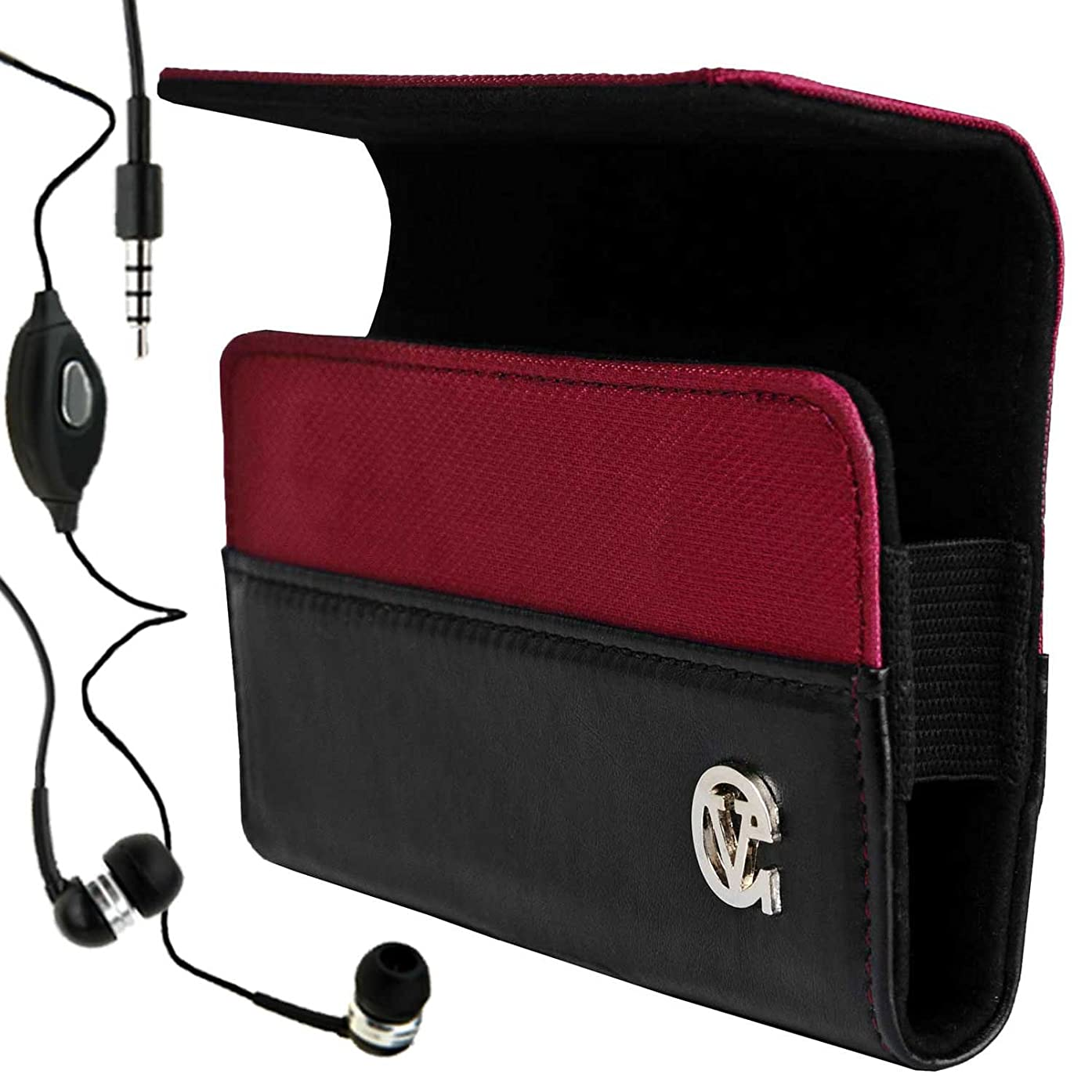 Portola Candy Apple Red Hard Cover HTC Explorer Leather Case for HTC Explorer 4G Android Phone (Explorer , Pico , Unlocked Phone , All Models) + Compatible HTC Explorer Earbud Earphones with Microphone