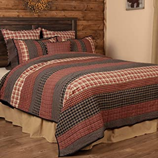 VHC Brands Beckham King Quilt 105Wx95L Country Rustic Patchwork Design, Rust Red and Tan