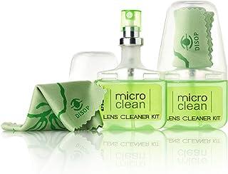 2 x Spray Limpia Gafas con Microfibra, Kit de Viaje y de Bolsillo, Limpiador Óptico Sin Alcohol y con Aroma, 2 x 20 ml (2 x Manzana)