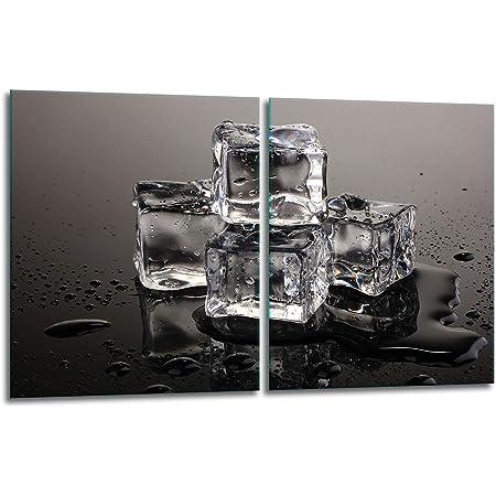 TMK   Lot de 2 cache-plaques de cuisson en verre 2 x 40 x 52 cm Protection anti-éclaboussures Plaque en verre Plaque de protection pour plaque vitrocéramique Décoration Planche à découper   Noir glacé