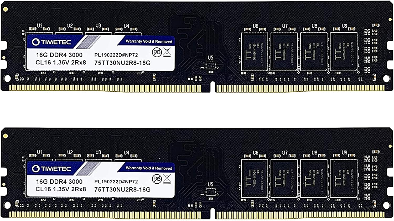 Timetec 32GB KIT 2x16GB Max 40% OFF Factory outlet DDR4 CL16 1.35V 3000MHz PC4-24000 Non-E