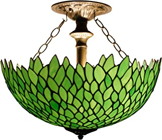 Tiffany Ceiling Fixture Lamp Semi Flush Mount 16 Inch Green Wisteria Stained Glass Shade Pendant Hanging 2 Light Fixture for Dinner Room Living Room Bedroom S523 WERFACTORY