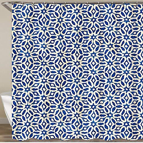KGSPK Duschvorhang,Batik Aquarell künstlerische Blaue & weiße Muster Boho-Stil,Wasserfeste Bad Vorhang aus Polyestergewebe mit 12 Haken Duschvorhang 180x180cm