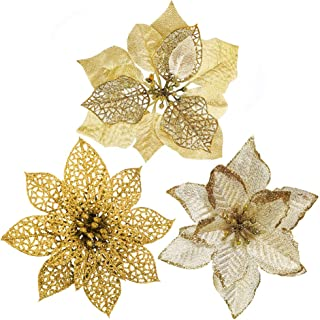 Winlyn 24 Pcs 3 Styles Christmas Gold Glitter Poinsettia Flowers Picks Christmas Tree Ornaments for Gold Christmas Tree Wreaths Garland Holiday Seasonal Wedding Decorations White Gift Box Included