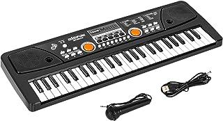 SANMERSEN 電子キーボード 49鍵盤 多機能 高音質 充電式 楽器キーボード CPC認証 CE認証取得済 マイク & 日本語取扱説明書付き(ブラック)