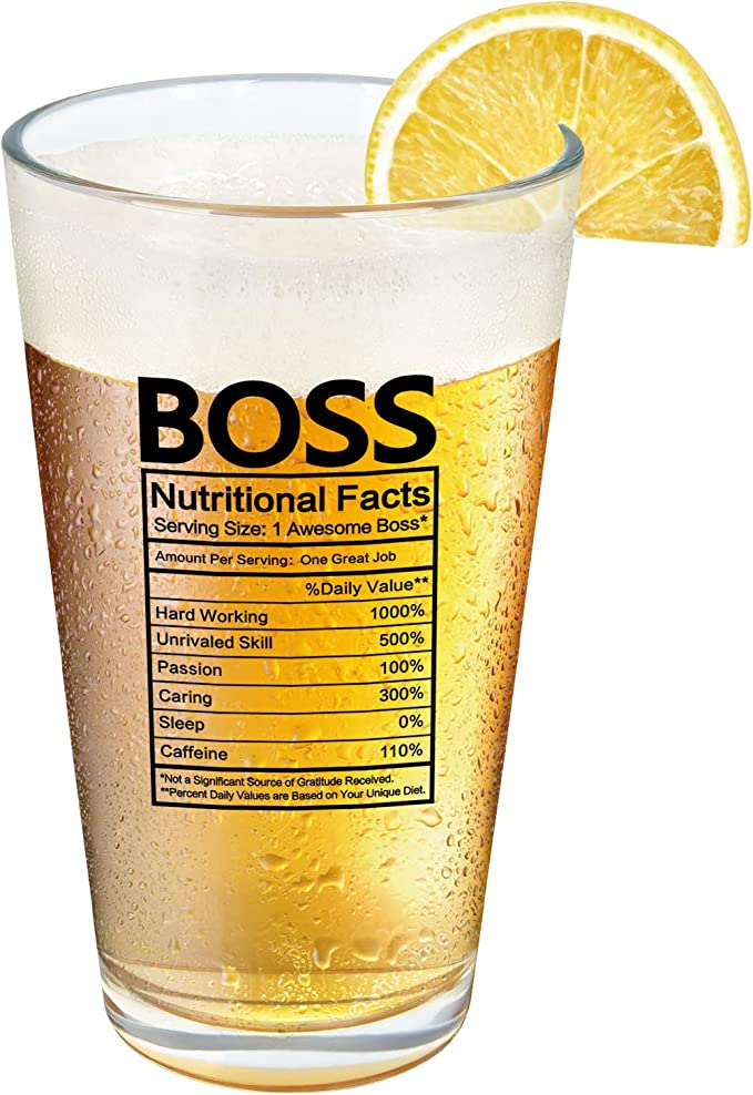 Modwnfy Boss Nutritional Facts Beer Glass