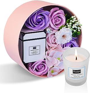 ANBET Femmes Savon Fleur Boîte Ronde avec Bougies Parfumées Rose Artificielle et Cire Végétale Naturelle Aromathérapie Bai...