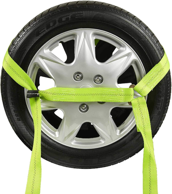4 Pack Auto Hauler Car Flatbed Tie Down Kit Lasso Wheel Ratchet Straps w//Chain