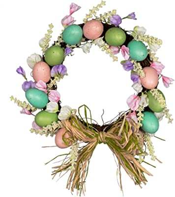 12inch Artifical Easter Egg Wreath with Mixed Flowers, Braid Bow Twigs and Eggs,for Front Door or Indoor, Wall Decor