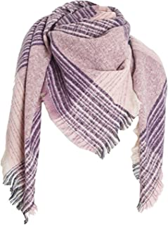 Wander Agio Womens Warm Scarf Square Shawls Infinity Scarves Stripe Plaid Rough Surface