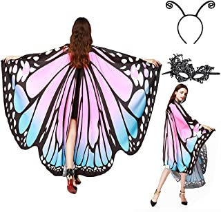 Butterfly Wings, Halloween Costumes Fairy Ladies Cape Nymph Pixie Shawl Cloak with Headband and Mask