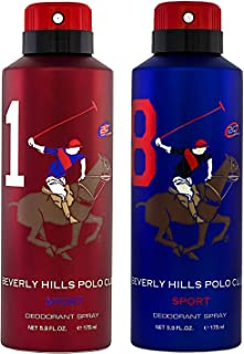 Beverly Hills Polo Club Sports No.1 & No.8 Deodorant Combo Pack for Men, 175 ml Pack of-2