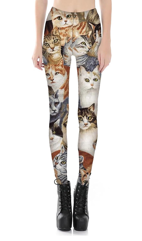 サラローズ(Sarah Rose) 猫 柄 可愛い レギンス スパッツ ロング スキニー パンツ ストレッチ 柔らか フィット キャット ネコ 好き アニマル インパクト ボトムス