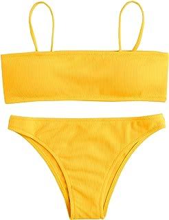Women's Sexy Bikini Set Removable Strap Wrap Padding Ribbed Swimwear Set