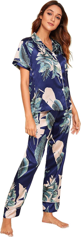 Milumia Women's Loungewear Button Down Pajamas Set Short Sleeve Nightwear Pants Sleepwear