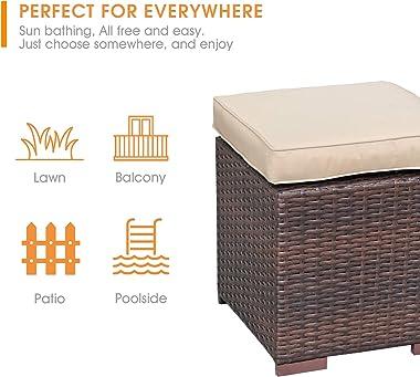 Patiorama 2 Pieces Assembled Outdoor Patio Ottoman, Indoor Outdoor All-Weather Dark Brown Wicker Rattan Outdoor Footstool Foo