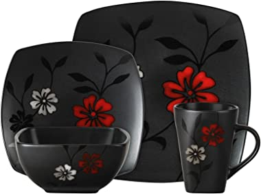 Gibson Elite Evening Blossom 16 Piece Dinnerware Set, Black
