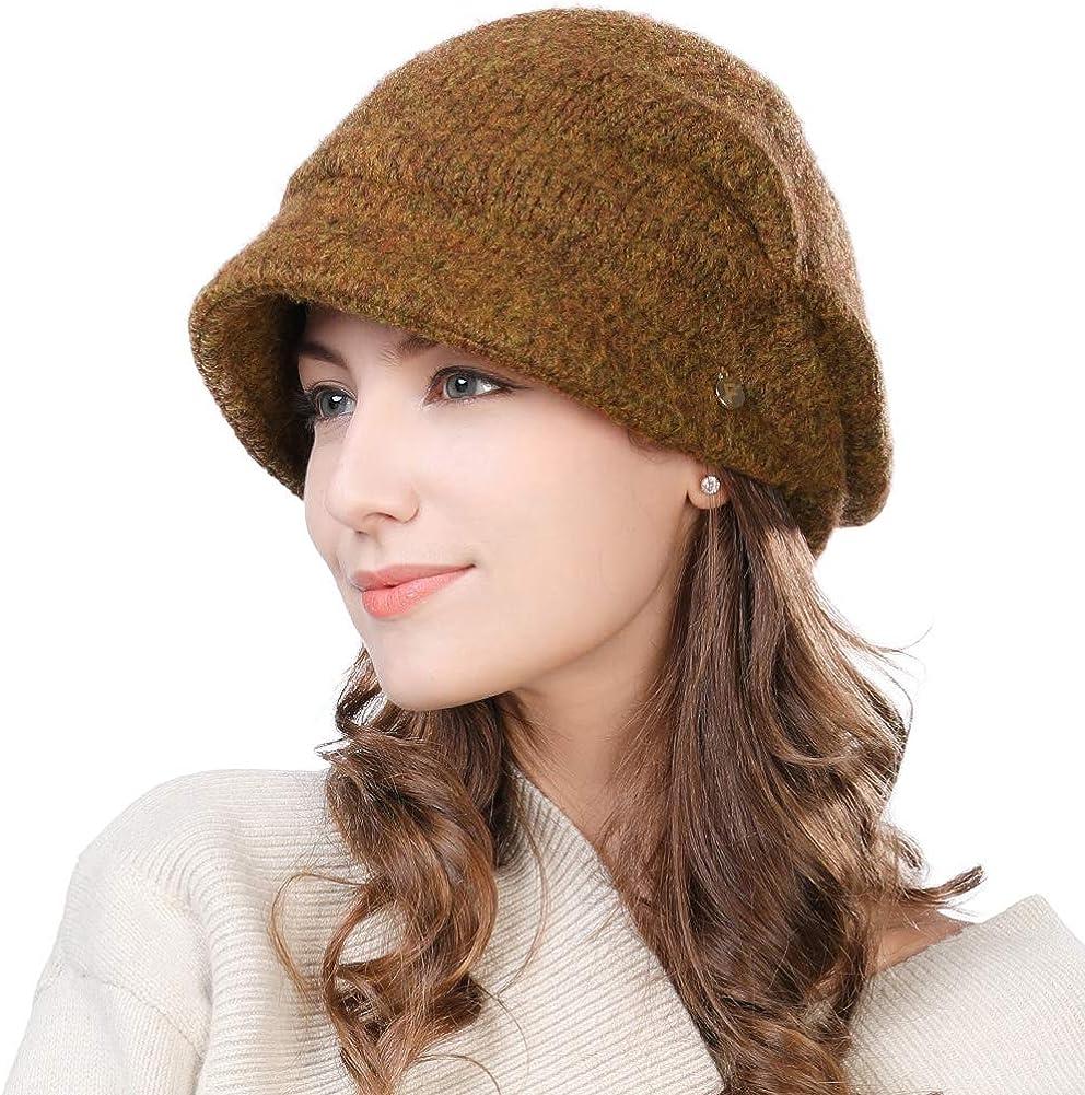 Womens Wool Visor Beanie Crochet Knit Newsboy Beret Cap Cold Weather Winter Hat Ladies Fashion Fleece Brown