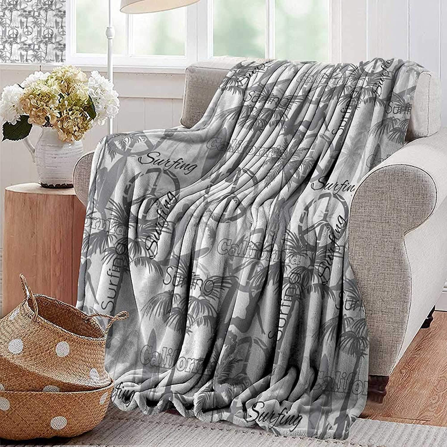 Weighted Blanket for Kids,Surf,Silhouette of a Surfing Lady Woman in The Ocean Peace Signs Retro Pattern Artwork,Grey White,Weighted Blanket for Adults Kids, Better Deeper Sleep 35 x60