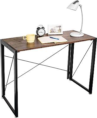 Ezigoo Bureau Pliable Marron, Bureau d'étude Simple, Bureau d'ordinateur pour Les Enfants Adultes, Poste de Travail Portable élégant pour Le Bureau à Domicile