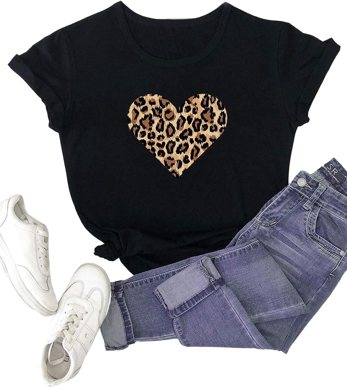 SOLY HUX Women's Plus Size Leopard Heart Print Short Sleeve Tee Summer Tops T Shirt