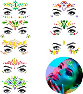 Halloween Face Jewels - Noctilucent Face Gems Mermaid Face Jewels Festival, Body Rhinestone Gems Rave Rainbow Face Crystals Luminous for Festival Music Carnival Party Makeup(8 Sets collection)