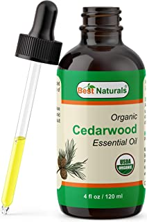 Best Naturals Certified Organic Cedarwood Essential Oil with Glass Dropper Cedarwood 4 FL OZ (120 ml)