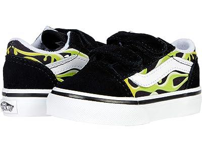Vans Kids Old Skool V (Infant/Toddler) ((Slime Flame) Black/True White) Boy