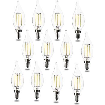 Dimmable Candelabra Base E12 TCP 40 Watt LED Flame Tip 12 Pack Soft White 2700K Chandelier Light Bulbs