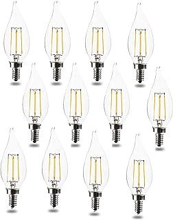 E12 Bulb Candelabra LED Bulbs 60 Watt 120V Equivalent CA11 Soft White 4.5W 2700K LED Chandelier Bulbs, Candelabra Base, Dimmable LED Lamp, UL Listed (12pack)