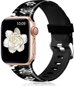 Easuny Floral Band Compatible with Apple Watch SE 44mm 42mm Women - Floral Soft Pattern Printed Cute Fadeless Silicone Replacement Wristband for iWatch Series 6 5 4 3 2 1 Girls,Black-Gray Flower,M/L