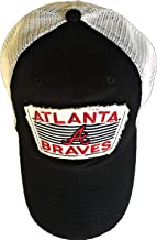 """Fan Favorite """"Atlanta Braves Adult Adjustable Snapback Cap Hat with White Trucker Meshback and Team Logo Distressed Patch ..."""