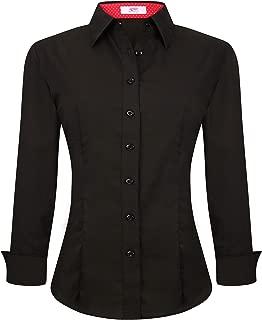 Womens Button Down Shirts Long Sleeve Regular Fit Cotton Stretch Work Blouse