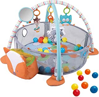 3 in 1Baby Play Mat with 4 Hanging Toys & 30 Balls, Infant Playmat for Tummy Time, Educational Baby Activity Mat & Ball Pi...