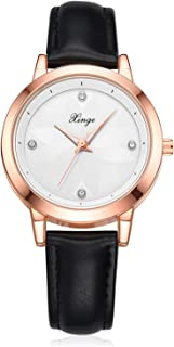 Xinge Casual Leather Watches for Women with Artificial Diamonds Analog Quartz XG1077