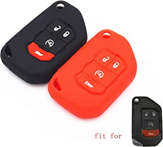 2Pcs MJKEY Black Silicone Remote Smart 3 Buttons Flip Key Fob Case Covers Skin Jacket Protector Bag Holder for Jeep 2018 2019 2020 Wrangler JL Gladiator JT 68292942AA