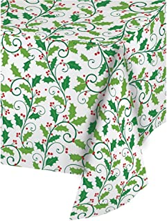 Creative Converting 013704 Plastic Banquet Table Roll, Holly, 50'