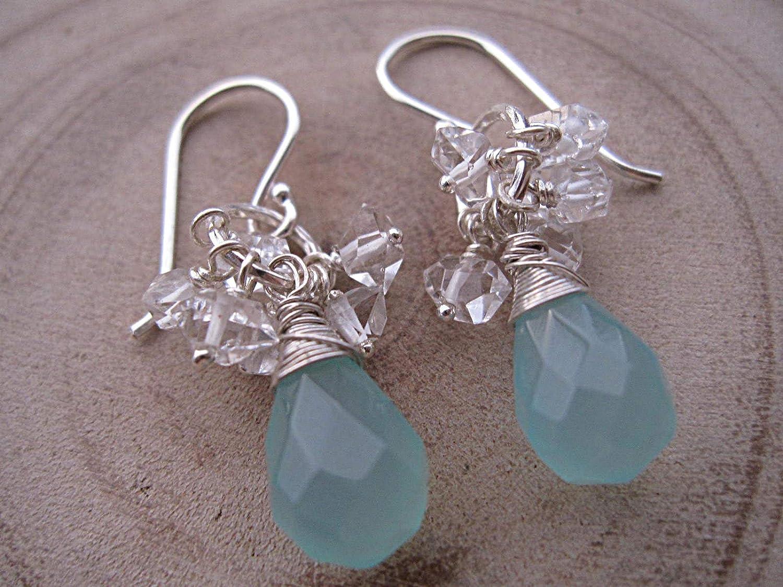 Aqua Blue Luxury Chalcedony Herkimer Diamond Earrings 925 Si Sale Special Price Sterling