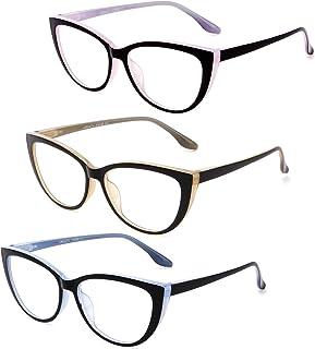 CRGATV 3 Pack Reading Glasses Blue Light Blocking Cat Eye Computer Readers