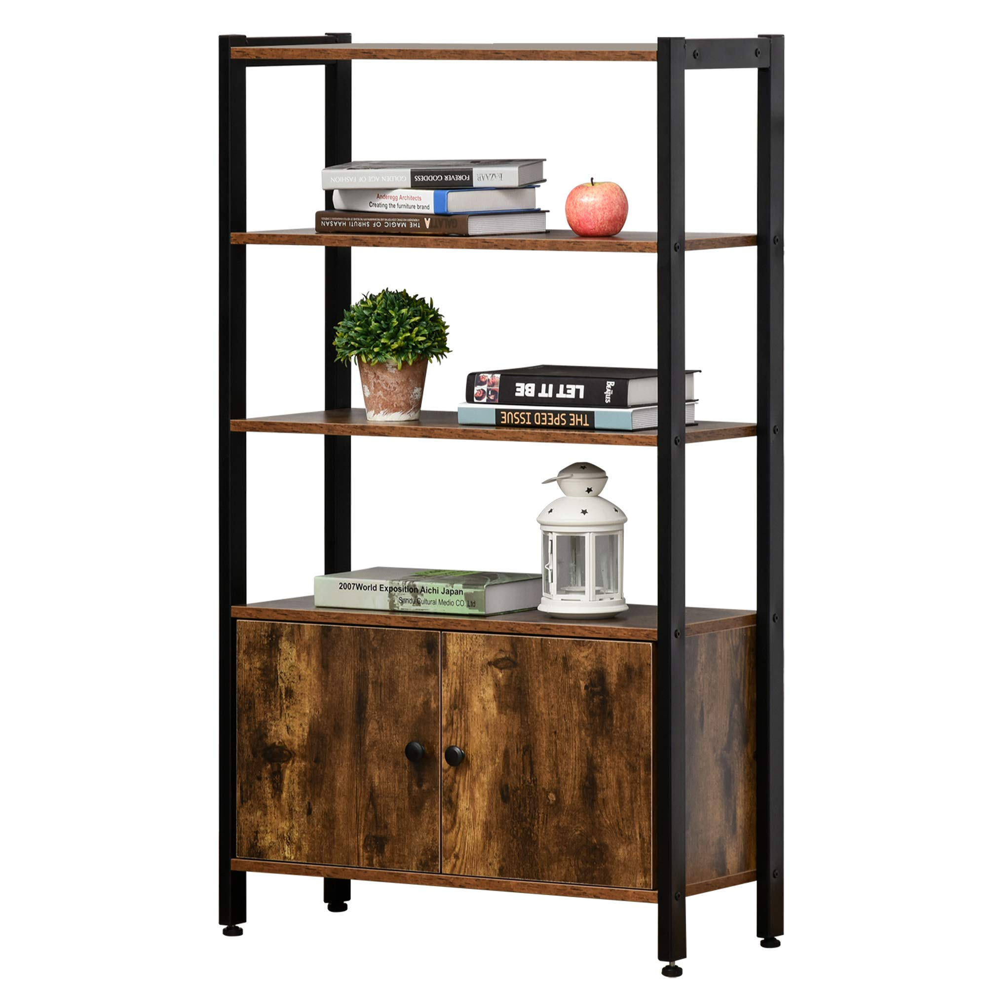 HOMCOM Industrial Bookshelf, Storage Cabinet with 3-Tier with Doors, for Home Office, Living Room Rustic Brown