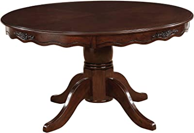 Benjara Transitional Wooden Round Dining Table with Floral Accents, Brown