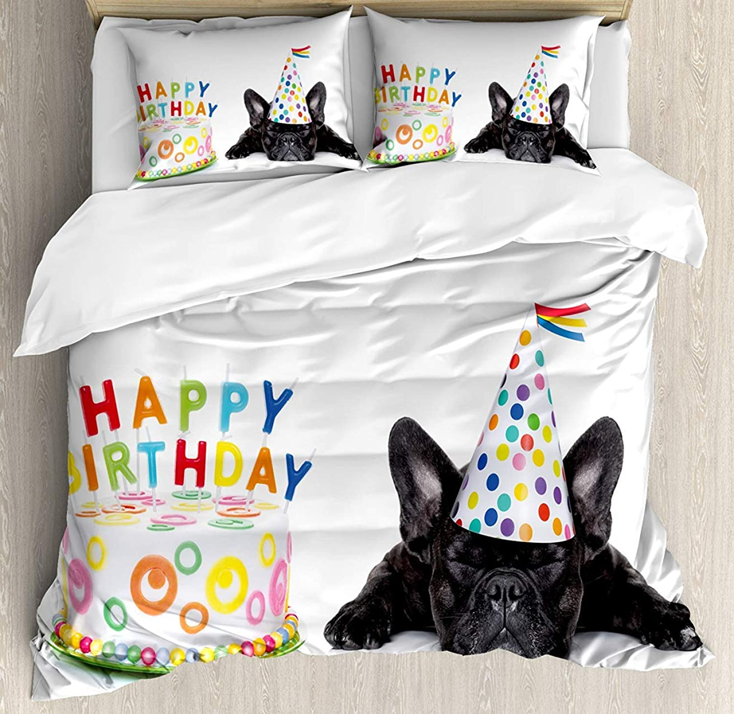 Kids Birthday 4pcs Bed Set Sleepy French Bulldog Party Cake with Candles Cone Hat Celebration Image Bedding Sets Duvet Cover Flat Sheet No Comforter with Decorative Pillow Shams for Kids Adults Teens