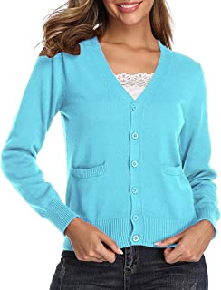 Obosoyo Women's V-Neck Long Sleeve Button Down Sweater Cardigan Soft Stretch Knit Cardigan Sweater with Pockets